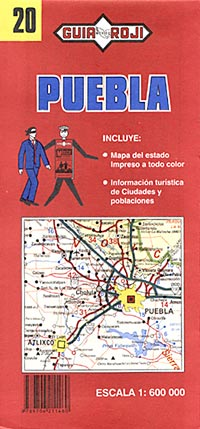 Puebla State, Road and Tourist Map, Mexico.