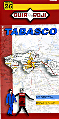 Tabasco State, Road and Tourist Map, Mexico.