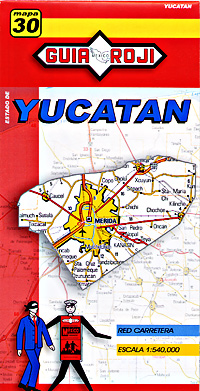 Yucatan State, Road and Tourist Map, Mexico.