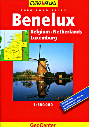 Benelux (Belgium, Luxembourg, and the Netherlands) Tourist Road ATLAS.