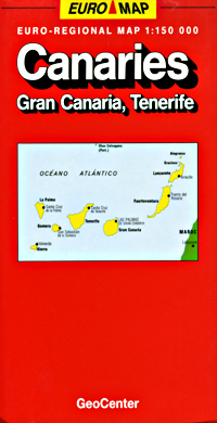 Canary Islands, Road and Shaded Relief Tourist Map, Portugal.