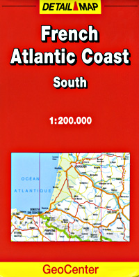 France, ATLANTIC COAST SOUTH, Road and Shaded Relief Tourist Map.