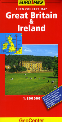 Great Britain and Ireland, Road and Shaded Relief Tourist Map.