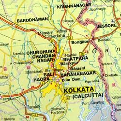 India, Nepal, Bhutan, Bangladesh, and Sri Lanka, Road and Shaded Relief Tourist Map.