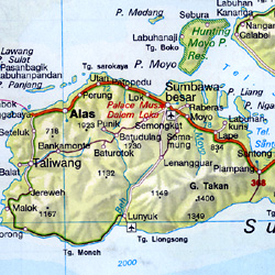 Indonesia and Malaysia Road and Shaded Relief Tourist Map.