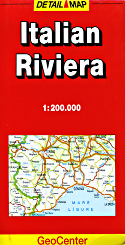 Italy Riviera Road and Shaded Relief Tourist Map.