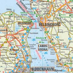 Denmark and Southern Sweden Road and Shaded Relief Tourist Map.