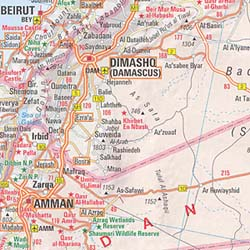 Middle East & Near Road and Shaded Relief Tourist Map.