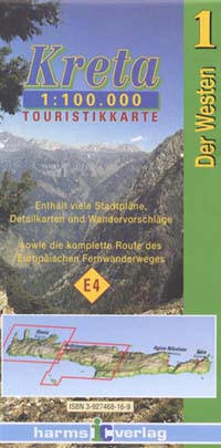 WESTERN Crete Road and Topographic Hiking and Tourist Map.