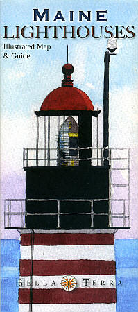 """Maine Lighthouses """"Illustrated"""" Road and Tourist Map, America."""