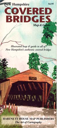 "New Hampshire ""Covered Bridges"", Road and Tourist Map, America."