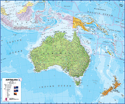 Australasia Political WALL Map.