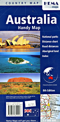 Australia Handy Road and Tourist Map.
