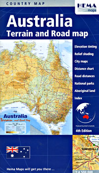 Australia Terrain Road and PHYSICAL Tourist Map.