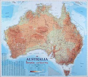 Australia Terrain Road and Shaded Relief WALL Map.
