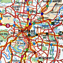 Brisbane day trip map, Australia.