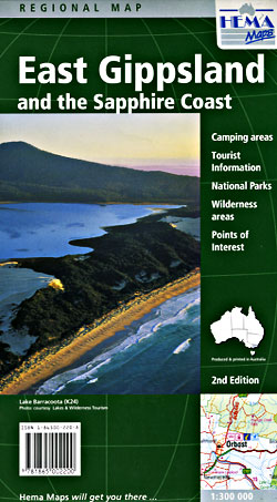 East Gippsland and the Sapphire Coast, Regional Road and Tourist Map, Victoria and New South Wales, Australia.