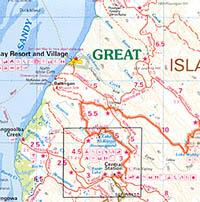 Fraser Island Regional Road and Tourist Map, Queensland, Australia.