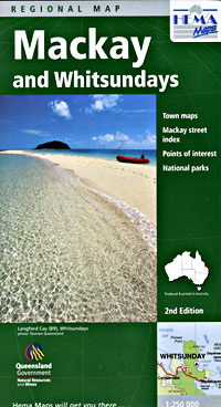 Mackay and Whitsundays, Regional Road and Tourist Map, Queensland, Australia.