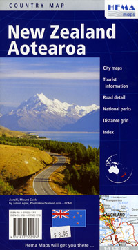 New Zealand, Road and Tourist Map.