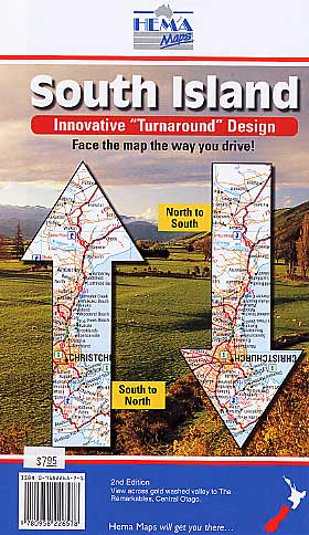 South Island, Road and Tourist Map, New Zealand.