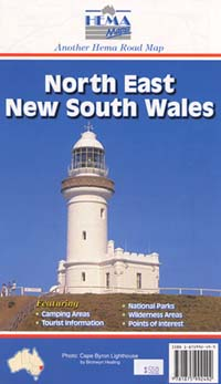 New South Wales, North East, Road and Tourist Map, Australia.