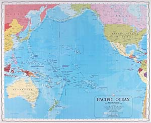 Pacific Ocean WALL Map.