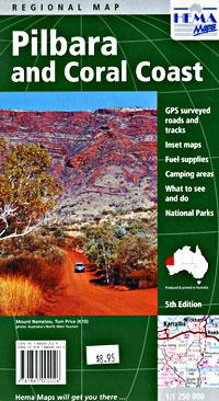 Pilbara and Coral Coast, Regional Road and Tourist Map, Western Australia, Australia.