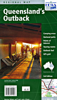 Queensland's Outback, Regional Road and Tourist Map, Australia.