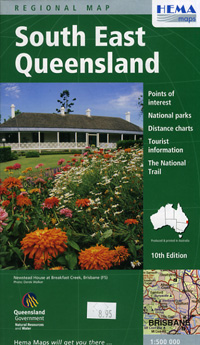 Queensland, South East, Regional Road and Tourist Map, Australia.