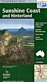 Sunshine Coast and Hinter Land, Regional Road and Tourist Map, Queensland, Australia.