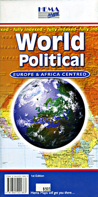 World POLITICAL, Europe and Africa Centered Map.