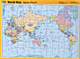 World Political Pacific Centered PUZZLE Map.