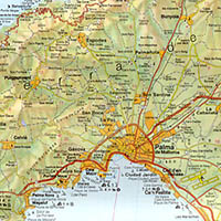 Balearic Isles, Road and Shaded Relief Tourist Map, Spain.