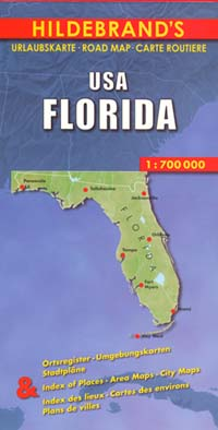 Florida Road and Shaded Relief Tourist Map, America.