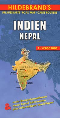 India and Nepal, Road and Shaded Relief Tourist Map.