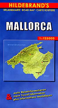 Mallorca Island, Road and Shaded Relief Tourist Map, Balearic Isles, Spain.