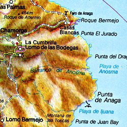 Tenerife Island, Road and Shaded Relief Map, Canary Islands, Spain.