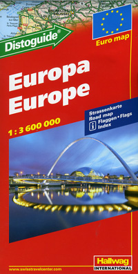 Europe Road and Shaded Relief Tourist Map.
