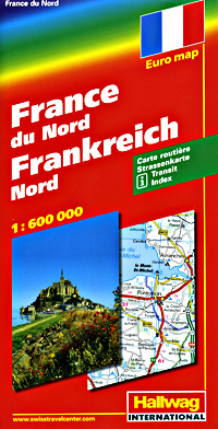 France, NORTH, Road and Shaded Relief Tourist Map.