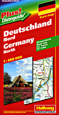 "Germany, North, Road and Shaded Relief Tourist Map, with ""Distoguide""."