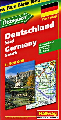 """Germany South Road and Shaded Relief Tourist Map, with """"Distoguide""""."""