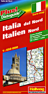 "Italy North Road and Shaded Relief Tourist Map, with ""Distoguide""."