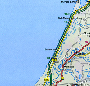 Morocco and Canary Islands Road and Shaded Relief Tourist Map.