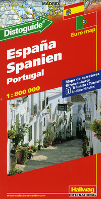 """Spain and Portugal, Road and Shaded Relief Tourist Map, with """"Distoguide""""."""
