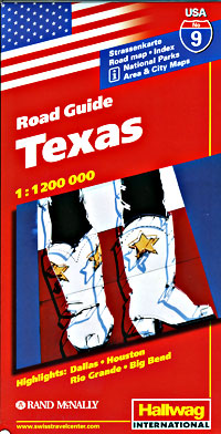 Texas Road and Shaded Relief Tourist Map.