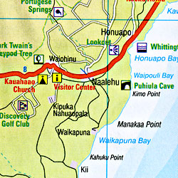 Hawaii Road and Shaded Relief Tourist Map, America.
