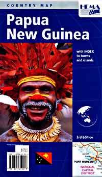 Papua New Guinea, Road and Tourist Map.