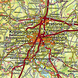 Southern Africa, Road and Shaded Relief Tourist Map.