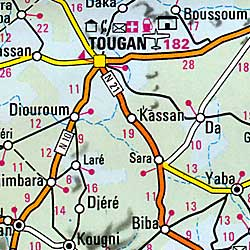 Burkina Faso Road and Shaded Relief Tourist Map.